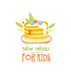New menu for kids logo design healthy organic vector