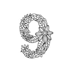 Number 9 coloring book for adults vector image