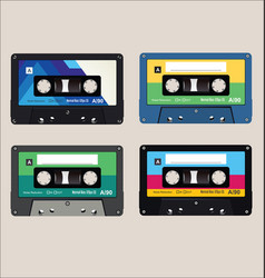 old colorful audio cassettes background vector image