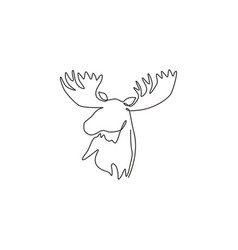 one continuous line drawing gallant moose head vector image