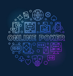 Online poker concept round colored line vector