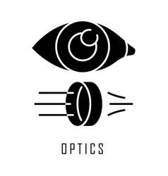 Optics glyph icon light physics branch optometry vector