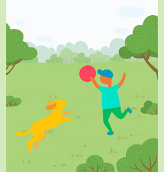 Outdoor activity boy playing with dog in park vector