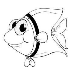 outline animal for little fish vector image