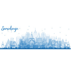 Outline surabaya skyline with blue buildings vector