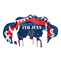 paper cut banner for independence day july 4 usa vector image