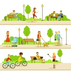 People Different Activities Outdoors Set Of vector