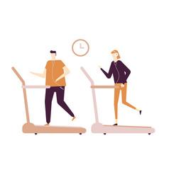 people running on treadmill - flat design style vector image