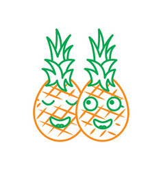 Pinapples happy fruit kawaii icon image watermelo vector