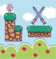 Pixelated retro videogame scenery vector