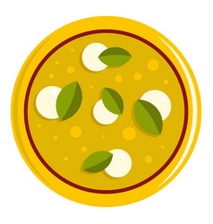 Pizza with cheese and basil icon isolated vector