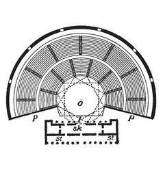 Plan of greek theatre is a plans structure layout vector