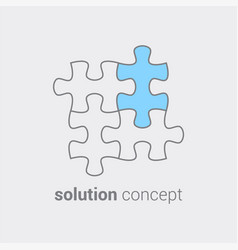 puzzle with colored part as symbol that in any vector image