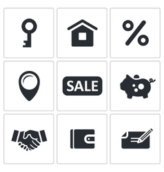 Real Estate Deal icon set vector