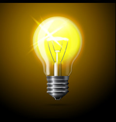 realistic glowing light bulb on dark background vector image