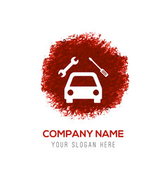 Repair car icon - red watercolor circle splash vector
