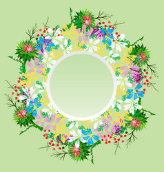 Round wreath of field flowers of chamomiles vector