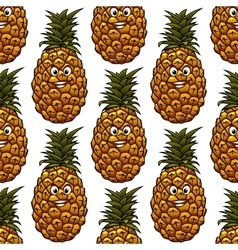 Seamless background with pineapple character vector image