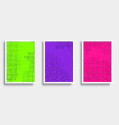 set colorful backgrounds with halftone pattern vector image