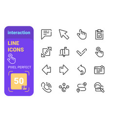 set interaction line icons with perfect pixel vector image