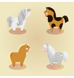Set of 4 little cute pony vector