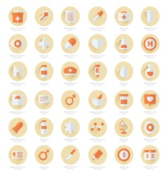 Set of flat Medical icons 2 color styles vector image