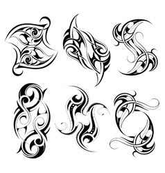 Set of tribal tattoo shapes vector image