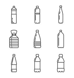 Set outline plastic bottle icons vector