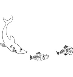 Shark pursues little fishes vector image