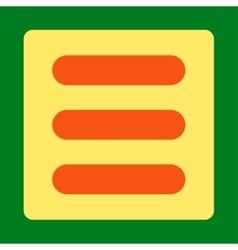 Stack flat orange and yellow colors rounded button vector