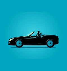 Successful businessman driving a convertible car vector