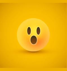 Surprised yellow emoticon face in 3d background vector