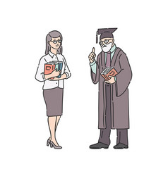 teacher woman and professor man people vector image
