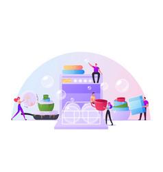 tiny characters washing kitchenware together put vector image
