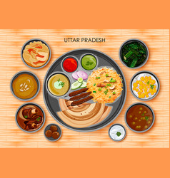 traditional cuisine and food meal thali of uttar vector image