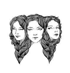 Triple portrait of beautiful ladys vector