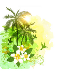 tropical watercolor background with green palms vector image