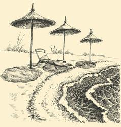 umbrellas on beach sea summer holiday vector image