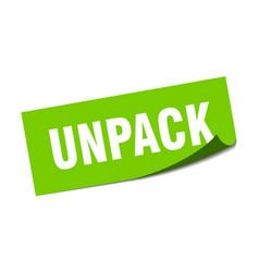 Unpack sticker unpack square sign unpack peeler vector