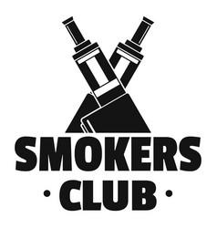 Vape smokers club logo simple style vector