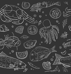vintage seamless pattern with different seafood vector image