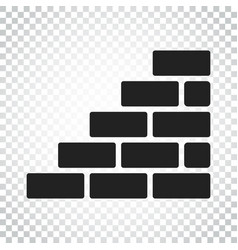 wall brick icon in flat style on isolated vector image