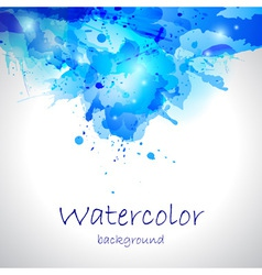 Watercolor blue blot background vector image
