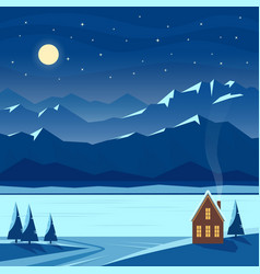 winter night snow landscape with moon mountains vector image