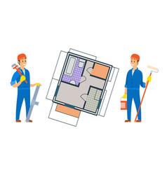 Worker constructing new house floor planning vector