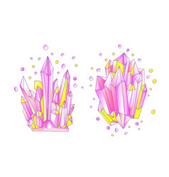 Yellow and pink crystal cartoon cute vector