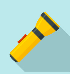 Yellow flashlight icon flat style vector
