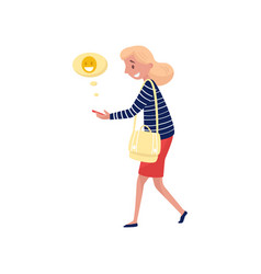 young smiling woman walking and sending laughing vector image