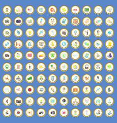 100 media icons set cartoon vector image