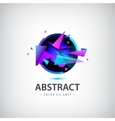 abstract sphere logo with geometric shapes vector image vector image